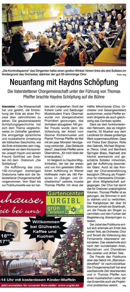 HALLO Ebersberg Schoepfung Haydn Chorgemeinschaft Vaterstetten